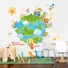 Creative Travel Around The World Wall Sticker Kids Room Decoration Self Adhesive Cartoon Stickers Home Decor Bedroom Wall Decor Wall Stickers Aliexpress