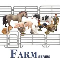 Amazon Com Toymany Solid Realistic 14pcs Farm Animal Figures Set With Fence Farm Animals Playset Includes Farmer Horse Cow Pig Hen Duck Rabbits Birthday Christmas Toy Gift For Kids Toddlers Children Toys
