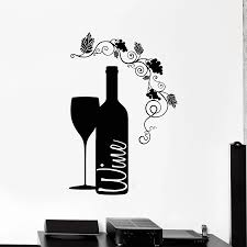 Wine Wall Decal Goblet Glass Bottle Grape Alcohol Bar Winery Family Interior Decor Vinyl Window Stickers Flowers Art Mural M156 Wall Stickers Aliexpress