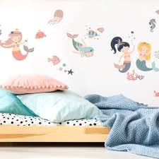 Zoomie Kids Sweet Pastel Mermaids Wall Decal Wayfair