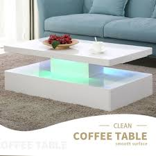 oval high gloss white coffee table