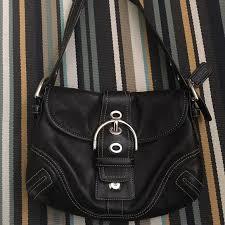 coach bags black leather handbag with