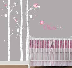 Birch Forest Birch Tree And Owl Decal Birch Trees Birch Trees For Nursery Living Room Kids Or Childrens Ro Birch Tree Wall Decal Owl Decal Tree Wall Decal