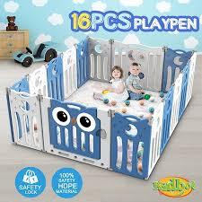 Kidbot 16 Panel Baby Safety Gate Baby Playpen Fence Child Gate Enclosure Owl Design Crazy Sales