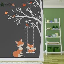 Wall Decal Vinyl Sticker Nursery Large Tree With Birds And Foxes Swing Custom Any Color Wall Art Mural Kid Room Decor Diy Ww 349 Leather Bag