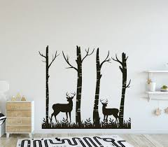 Forest Black Design Wall Decor Deer Silouethe Forest Wall Etsy