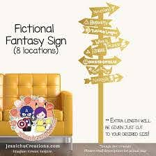 Fictional Fantasy World Sign Post Vinyl Wall Decal Sticker Wall Decal Sticker Vinyl Wall Decals Wall Decals