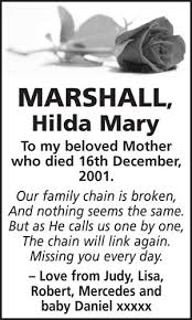 Hilda Marshall - Family Notices from the Barnsley Chronicle