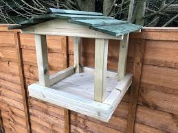 Over The Fence Hanging Wooden Bird Table Heavy Duty Feeder Station Seeds Amazon Co Uk Handmade