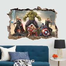 Cartoon Avengers Wall Stickers For Kids Rooms Bedroom Wall Decals 3d Living Room Decoration Mural Boy S Gift Aliexpress