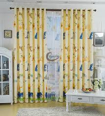 Yellow Disney Pooh And Tiger Window Curtains For Kids Room