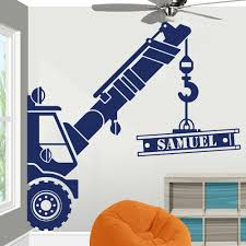 Custom Name Construction Crane Truck Wall Sticker Play Room Kids Room Personalized Name Construction Vehicle Wall Decal Vinyl Wall Stickers Aliexpress