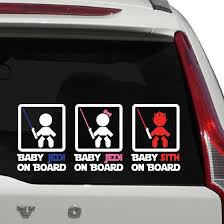 Baby Jedi On Board Sign Car Decal Family Car Decals Baby Jedi Family Car Stickers