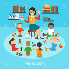 Kindergarten Poster Of Kids Teacher In Play Room Explaining Alphabet Royalty Free Cliparts Vectors And Stock Illustration Image 54629296