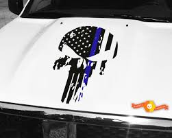 Product Punisher Skull Blue Line Flag Hood Decal 26 Wide Fits Jeep Dodge Chevy Skull Decal Punisher Skull Chevy Stickers