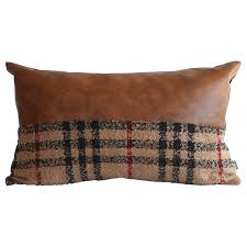 faux leather pillow cover kdays tartan