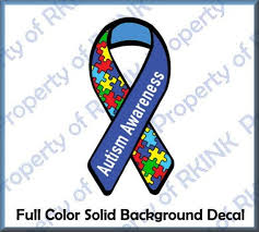 Autism Awareness Ribbon Fc9 Full Color Vinyl Decal For Car Etsy