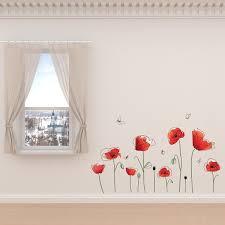 Shop Walplus Poppy Flower Butterfly Wall Sticker Decal Wall Art Home Decor Overstock 31768906