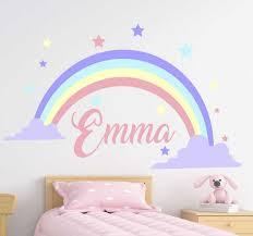 Rainbow Customizable Name Kids Bedroom Decal Tenstickers
