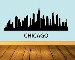 Chicago Skyline Wall Decal Etsy