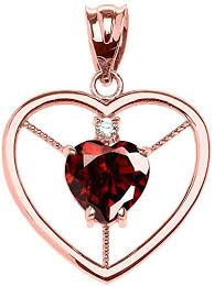 10k rose gold heart january birthstone
