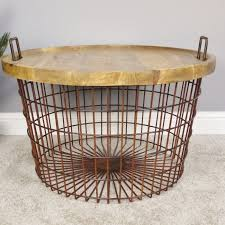 large basket side table with wooden top