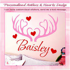 Personalized Name Deer Antlers Hunting Girl Wall Decal Vinyl Sticker Decor 086 Ebay