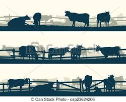 Fields With Fence And Farm Animals Horizontal Vector Banner Silhouettes Of Grazing Farm Animals With Fence Cows And Bulls