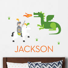 Knight And Dragon Wall Decal Personalized Maxwill Studio