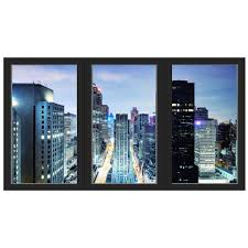 Vwaq Office Window Decal City Skyline Wall Sticker Removable Reusabl