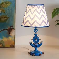 Anchor Table Lamps Coastal Fabric And Iron 1 Light Accent Table Lamp For Kids Room Decor Beautifulhalo Com