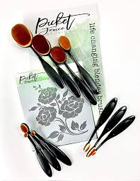 Amazon Com Picket Fence Studios Life Changing Blending Brushes Set 10 Brushes And 6x6 Floral Stencil 11 Piece Bundle