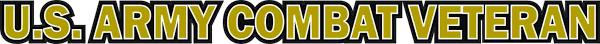 U S Army Combat Veteran Window Strip Decal Sticker