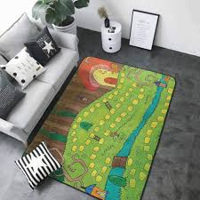 Amazon Com Kitchen Room Floor Mat Rug Colorful Kids Activity Board Game Style Design Of Pathway To The Mushroom House In A Magical Forest Multicolor 64 X 96 Natural Fiber Area Rug Kitchen
