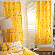 Mustard Yellow Duck Patterned Cute Curtains For Kids