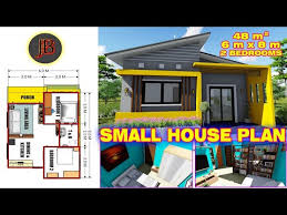small house plan of 48 sq m with 2