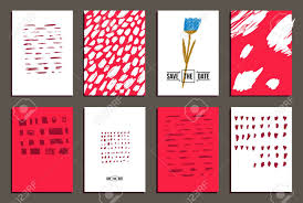 Conjunto De 8 De Moda Invitan Tarjetas Diseno Dibujado Mano Dia