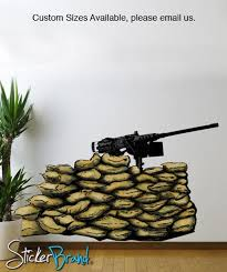 Graphic Wall Decal Sticker Gun 50 Caliber Nest Army Military Jh181 Stickerbrand