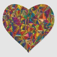 stained glass heart shape stickers