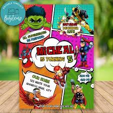 Invitacion De Cumpleanos De Superheroes Editables De Cumpleanos