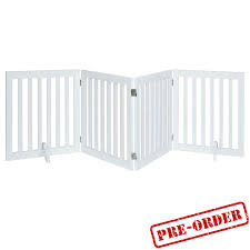 Four Panel Freestanding Dog Gate For Stairs Indoor Dog Fence White Modern Pets
