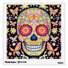 Sugar Skull Wall Decals Stickers Zazzle