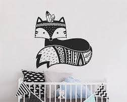 Fox Wall Decal Tribal Fox Nursery Decal Woodland Fox Wall Etsy