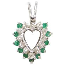 14k white gold 93 ctw emerald and