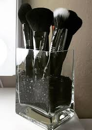 glass makeup brush holder by