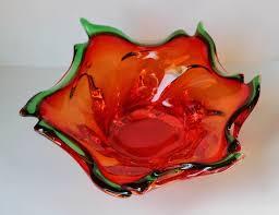 vintage blood orange art glass bowl