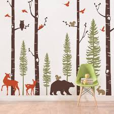 Forest Birch Tree Wall Decal With Animals Baby Nursery Wall Etsy