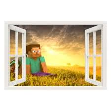 Wall Decals For Kids Minecraft Game Steve And Sunrise Wall Decal Ambiance Sticker Com