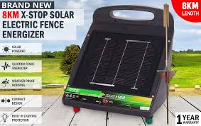 New X Stop Solar Electric Fence Energiser 8km Farm 7 5v Dc Rechargeable Powered Ebay