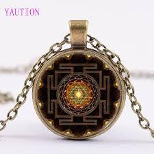 3 color buddhist sri yantra pendant